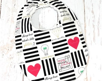 Ready to Ship - Monochrome Baby Bib for Girl - Single Bib - Triple Layer Chenille - Positivity, Black & White, Pink, Gold - SHINE BRIGHT