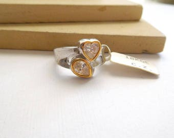 Retro Vintage 18k Gold Electroplate Cubic Zirconia CZ Heart Design Mixed Metal Ring Size 6 M36