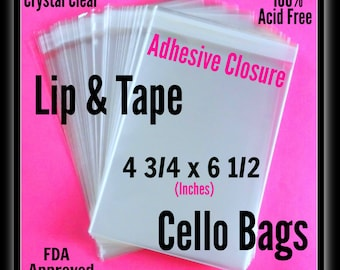 100 ( 4 3/4 x 6 1/2 ) Lip & Tape Cello Bags ..  Clear Bags, Self Sealing, Cello Bags, Adhesive Cello Bags, Adhesive Sleeves
