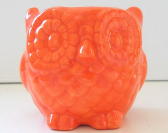 Ceramic Owl Planter Succulent Pot Scrubby Holder Vintage Design in Orange Cactus Planter
