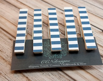 Dark Blue Stripe Clothespin Magnets, Set of 5