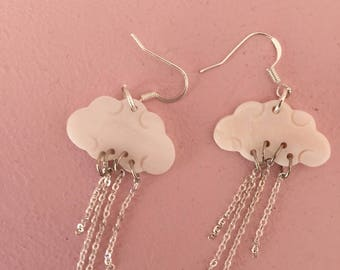 Clouds earrings mother of Pearl and silver metal chains