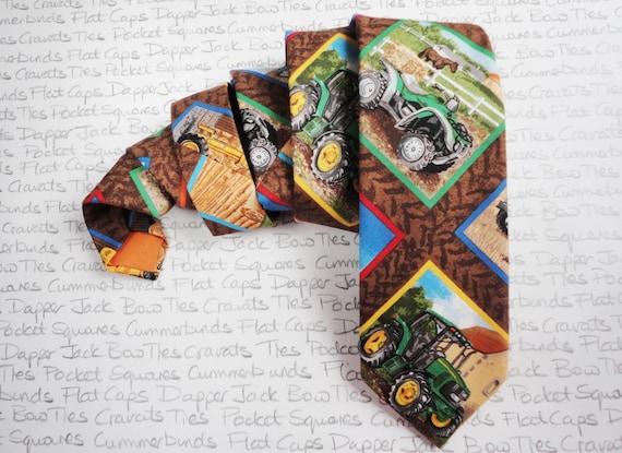 Tie, ties for men, tractor print tie, neck tie