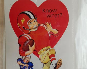 Two (2) Vintage Valentine Cards, Unused, with Envelopes, Football Player