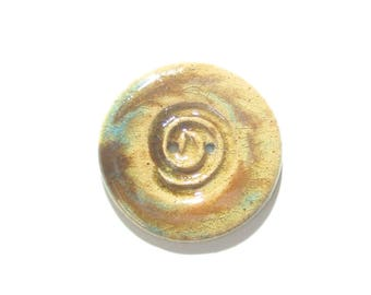 Large Rustic Round Brown Spiral Stoneware Button, (1) Two Hole 1.5 Inch Button, Shawl Button, Coat Button, Ceramic, Artisan Button, Knitting