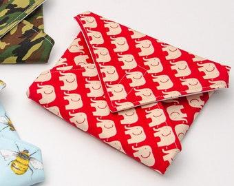 Reusable Sandwich Wrap, Lunch Wrap, Red Elephants kids design, Waterproof, Eco Friendly, Waste Free