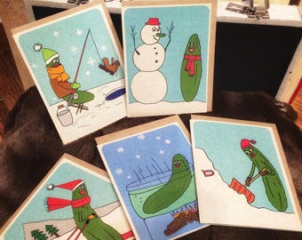 Holiday pickles greeting cards