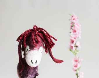 Felt Donkey - Olivia. Gift for kids Felted Toys mothers day gift Plush Toy donkey Felted Animals gift for kids burgundy red cherry blossom.