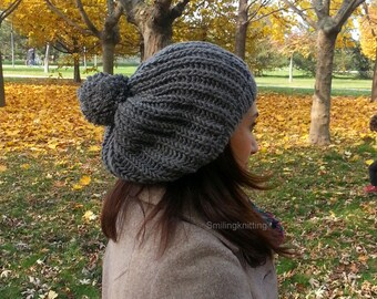 Ponpon Knit Hat, Grey Knit Hat,Winter Accessories, Women Hat, Slouchy Hat, Beret, Fall Colors, Beanie