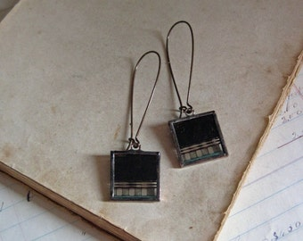 Film Earrings Long Arched Earwires Recycled Movie Negative Jewelry