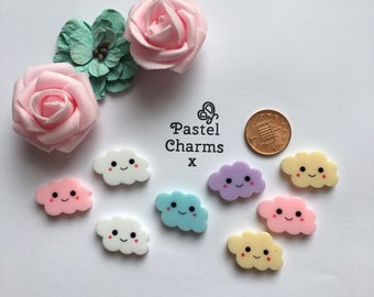 Pack of 10 mixed resin happy cloud embellishments