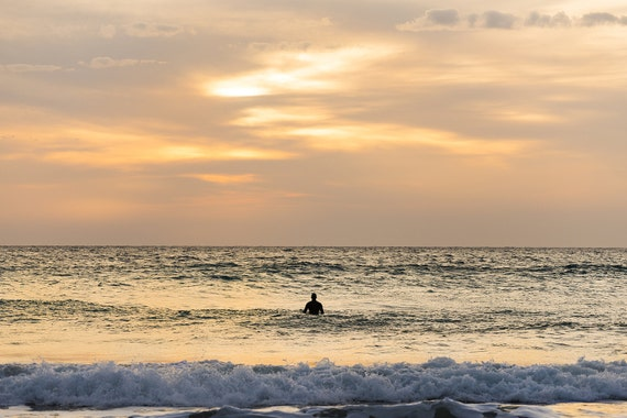 SOLITUDE AT SUNSET. Surf Print, Sunset Surfer, Seascape Print, Photographic Print, C Type Print, Surfing Picture