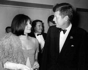 Barbra Streisand With President John F. Kennedy in 1963 - 8X10 or 11X14 Photo (AZ-026)