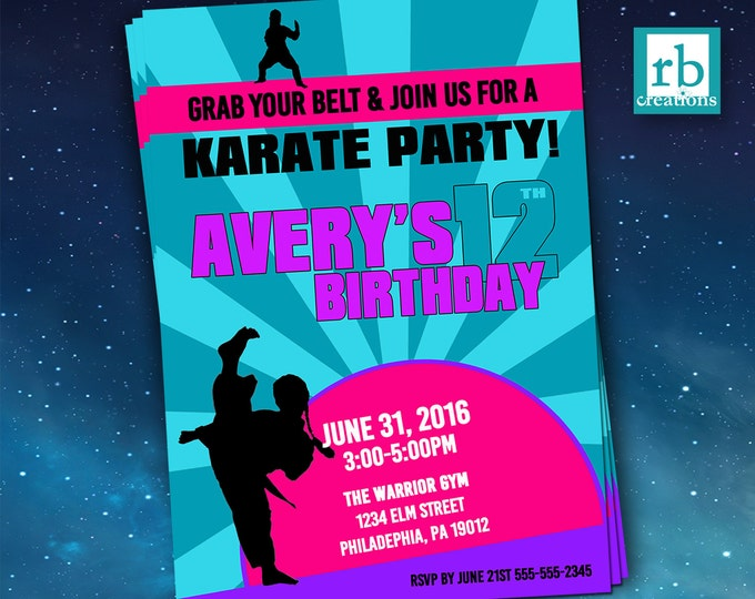 Karate Birthday Invitations, Girl Karate Invitation, Karate Invitation, Martial Arts Party, Martial Arts Birthday - Digital Printables