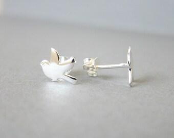Tiny Sterling Silver Bird Stud Earrings, Sparrow Earrings, Cute earrings.