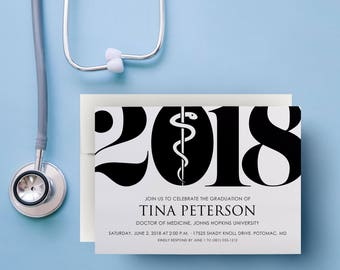 med student graduation invitation, graduation party invitations 2018, class of 2018 graduation invitation, caduceus invitations, printable