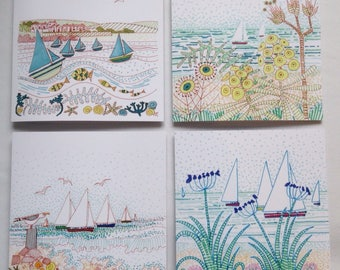 Sails and Seaside -a collection of 4 cards. Boats, beaches, coastal art
