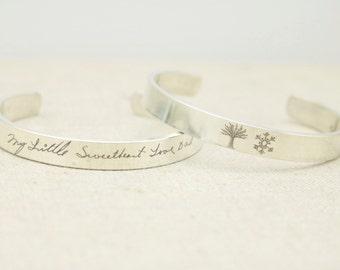 Personalized Silver Cuff Bracelet Handwriting Jewelry - Personalized Jewelry - Memorial Jewelry - Handwriting Bracelet - Personalized Gift