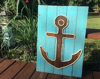 Handmade Anchor with Rope Beach Pallet Art Coastal Decor Rope Art Anchor Art