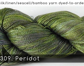 DtO 309: Peridot (a RavensWing color) on Silk/Linen/Seacell/Bamboo Yarn Custom Dyed-to-Order