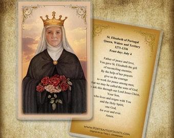 St. Elizabeth of Portugal Holy Card or Wood Magnet  #0202