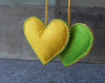 Yellow Felt Heart Green Felt Heart Ornament Handmade Heart Wedding Decoration Embroidered Heart Valentines Day Heart Wedding Love Gift Heart