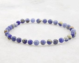 Sodalite Stretch Bracelet - Dainty Bracelet - Sodalite Bracelet - Gemstone Bracelet - Stacking Bracelets - Blue Gemstone - Sodalite Jewelry
