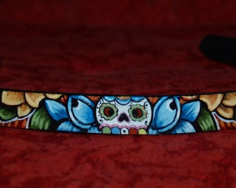 Tattoo Leather dog collar skull day of the dead 22 in handpainted