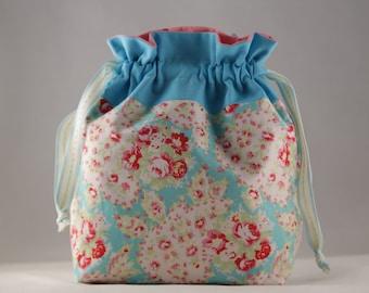 Knitting project bag small floral paisley print sock shawl drawstring bag