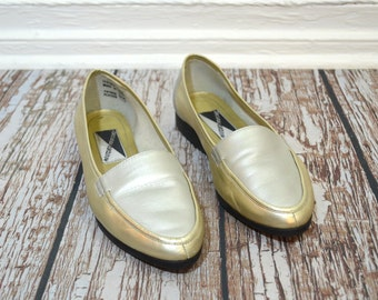 20 DOLLAR SUPER SALE! Vintage Women Loafers Size 8.5- Penny Loafer - Metallic Shoes - Silver Shoes - Gold Shoes