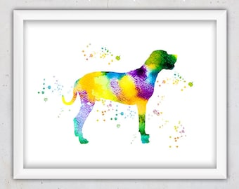 Great Dane Print, Wall Decor, Dog Print, Dog Art Printable, Nursery Art Print, Abstract Nursery Art, Watercolor Digital Art, Animal Print