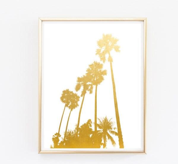 palm trees faux gold foil print travel wall art palm tree art
