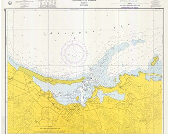 St Croix - Christiansted Harbor  - 1974 Nautical Map - Reprint -  AC Harbors PRV 935
