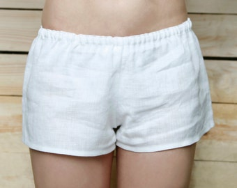 Pure Linen Boxer Shorts With Low Rise