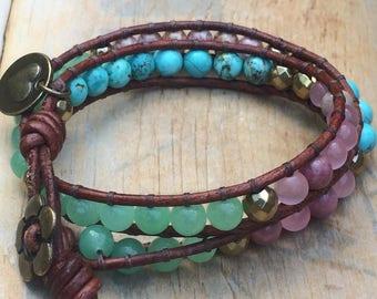 Turquoise leather beaded wrap bracelet