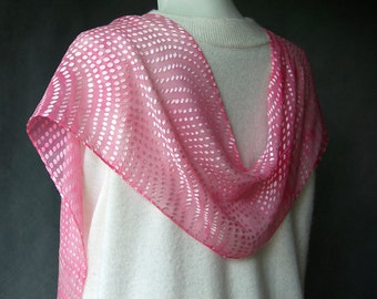 Hand Dyed Silk Scarf - Baby Pink with Irridescent Dots -  devore technique scarf SheWeaves wrap gift for her Christmas holidays silk