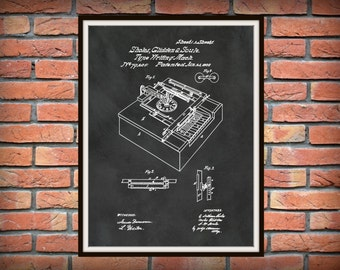 1868 Typewriter Machine Patent - Art Print - Poster - Office Wall Art - Secretary Art - Writer Art - Stenographer Art - Transcription