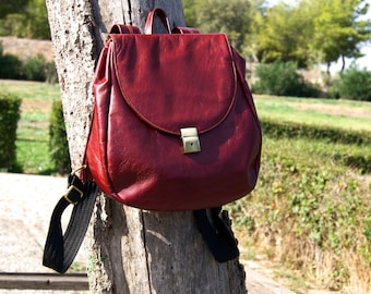 "Genuine leather backpack""BERRY"" Handmade red Rucksack,women backpack,men backpack,dark red leather backpack."