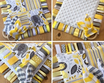 Baby Elephant Giraffe Ribbon Tag Blanket Girl Boy Neutral Yellow Grey Stripe Safari Jungle Teether Teething Ring Taggy Taggie Shower