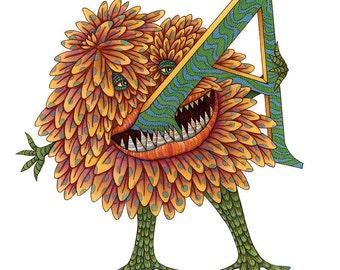 Monster - Letter A - Kids Wall Art - Alphabet Poster - Monster Art - Monster Poster - Letter Poster