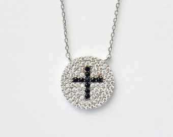 Cross Necklace, in Solid 925 Sterling Silver and Cubic Zirconia • A Beautiful Cross Gift to Give or Receive • Safe to Get Wet