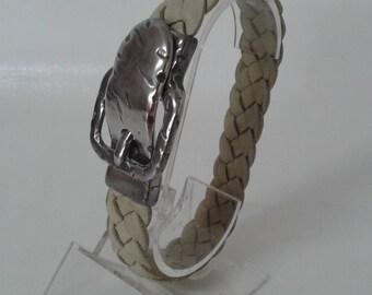 Lamb leather bracelet braided 4 strands ivory color.