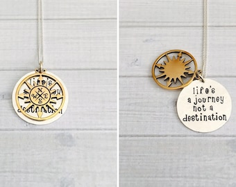 Graduation Jewelry - Life's a Journey Not A Destination Necklace, Class of 2018 Graduation Gift, Inspirational Gift, Hidden Message Necklace