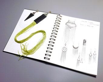 Asymmetric Fringe Earrings, Long Tassel Jewelry, Statement Fringe Earrings, Oversized Earrings, Textile Jewelry, Green Tassel Earrings