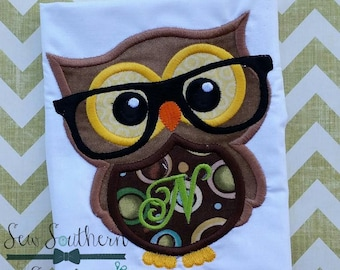 Nerd Owl with Glasses Applique Design ~ Instant Download