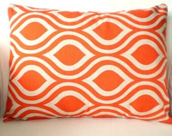 Orange Pillow Cover, Lumbar Throw Pillows, Decorative Pillows, Cushion Covers, Orange on Darker Natural Nicole Various Sizes