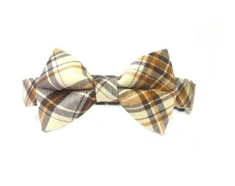 Preppy Brown Plaid Bow Tie Dog Collar Set- Removable Bowtie