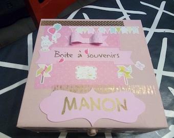 Box keepsake for baby (girl version) customizable colors and name