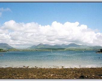 Ireland Landscape Photo Card, St. Beach Art Photo Card,  St. Patricks Day Card, Twelve Pins, Irish Seascape Photograph