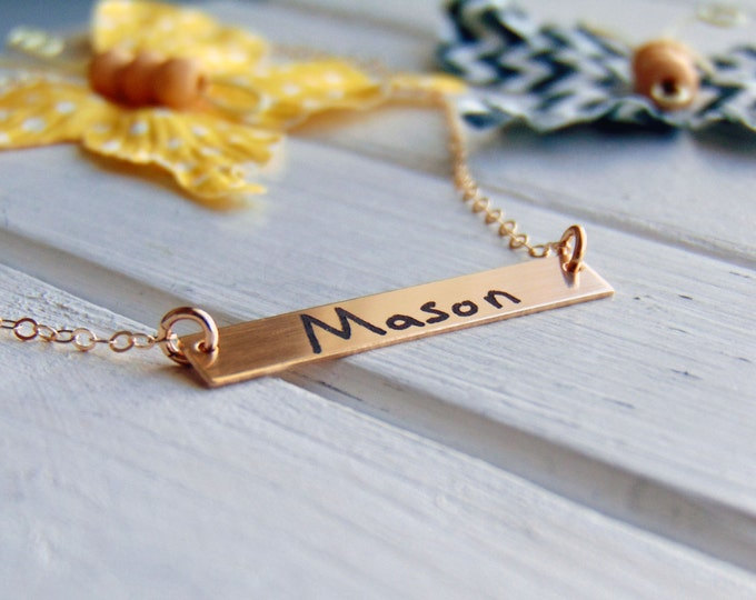 Children's Handwriting Horizontal Bar Necklace - YOUR Child's actual HANDWRITING -or text, Sterling Silver, Gold or Rose Gold -Mother's Day